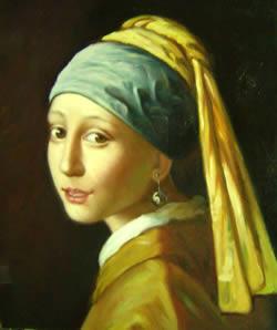 la chica con un pendiente de la perla - Pintura al leo