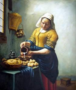 La chica con una pintura pendiente de perlas
