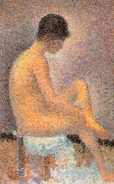 Técnica del moteado o puntillismo en una pintura de Georges Seurat