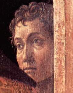 Presunto autorretrato de Mantegna en la  tabla de La Presentación