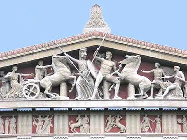 Recreación del frontón del Partenón